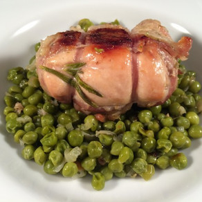 Turkey olives with liver stuffing on garden peas