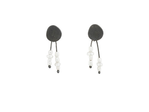 Solar Small Earrings Pearls Oxidized Silver