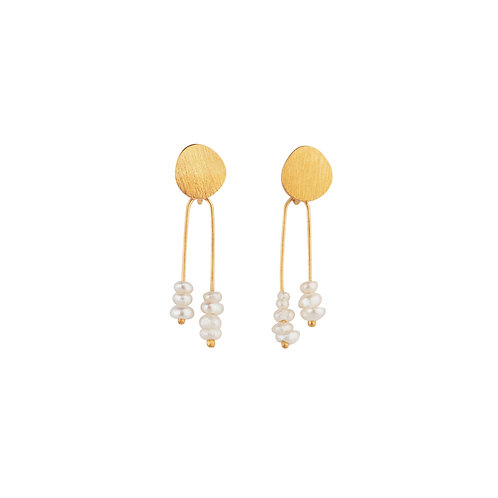 Solar Small Earrings Pearls Gold Plated