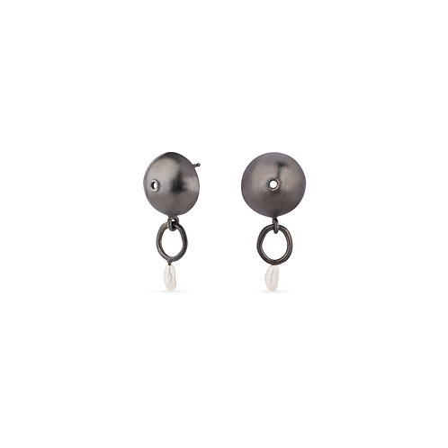 Azura Oxidized Silver and Pearl Earrings
