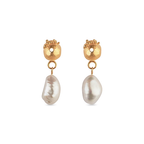 Lorena Gold Plated Earrings with Pearl