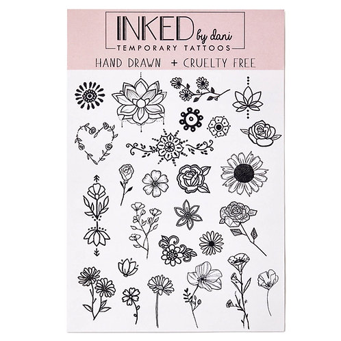 Inked by Dani Flower Child Temporary Tattoos (deluxe sample)