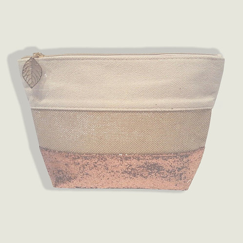 Clarins Ivory Gold Sparkle Glitter Makeup Zipper Bag