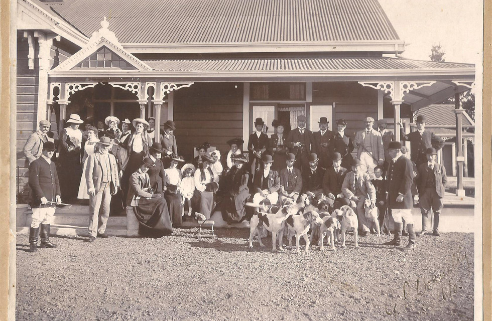 Airini, GP and Maud in front of their Ngatarawa homestead with friends and the hunt club. Photo supplied by Mike Donnelly.