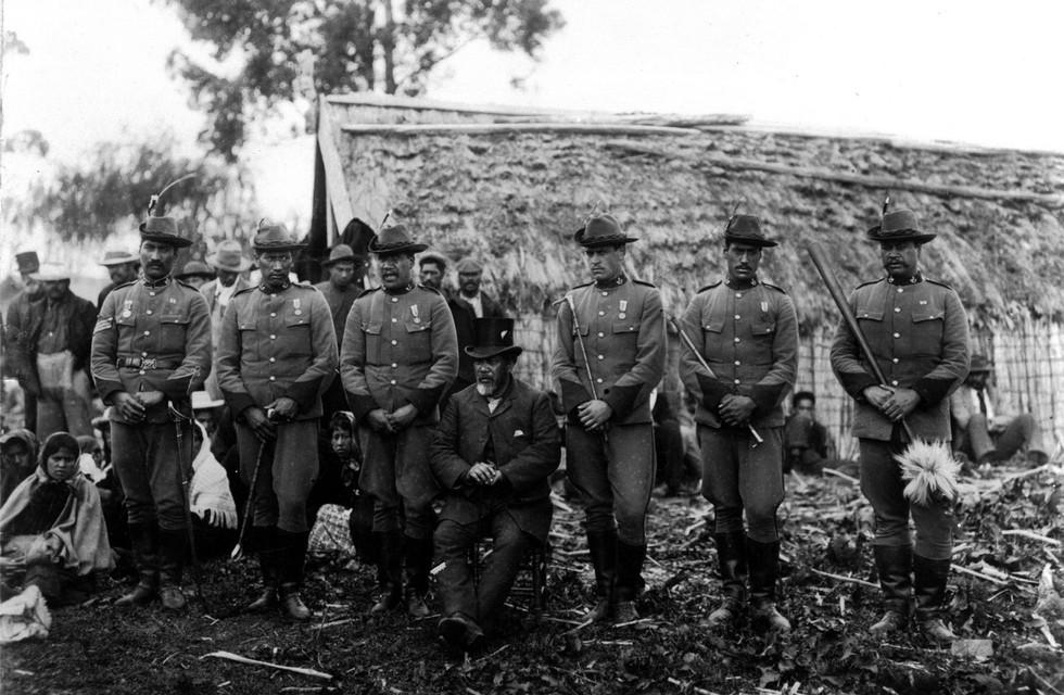 Kurupo Tareha (far left) and others at Waiohiki. Photo: Henry Williams collection.