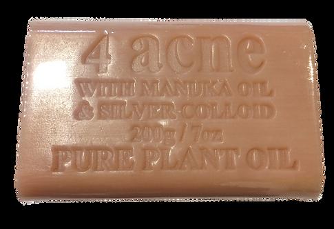 4Acne Pure Plant Oil Soap with Colloidal Silver & Manuka Oil - 200gm