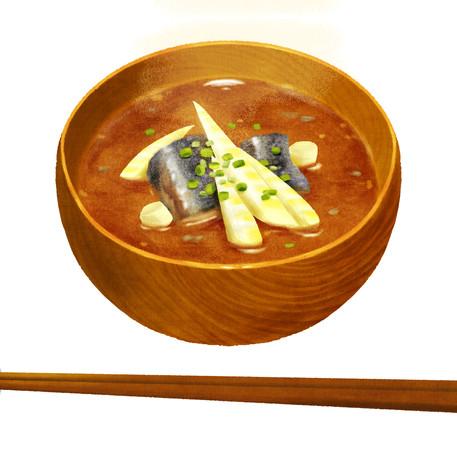 根曲がり竹とサバ缶のみそ汁