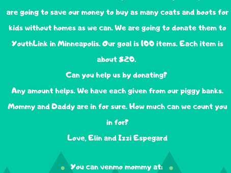 Students Izzy and Elin are having a 2020 fundraiser- Let's help them give coats this Christmas