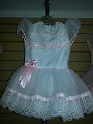 White and Pink Organza Dress