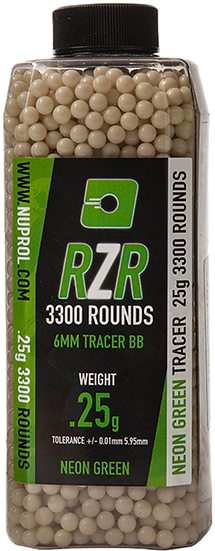 Nuprol 0.25g RZR Tracer Neon Green 6mm BB's