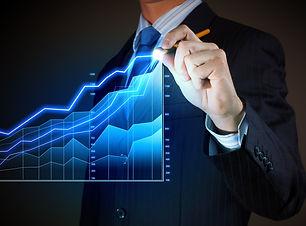Closeup image of businessman drawing 3d