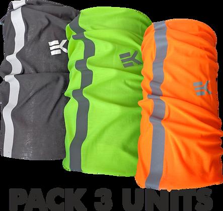 Pack x3  RefleX. Braga Calentador de Cuello EKEKO Alta Visibilidad