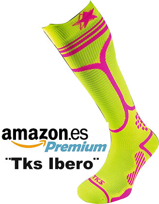 TKSOCK LONG COMPRESSION IBERO 02 YELLOW FLUO/PINK