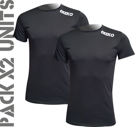 x2ud Camiseta Interior Deportiva EKEKO WARMCHALLENGE. NEGRAS