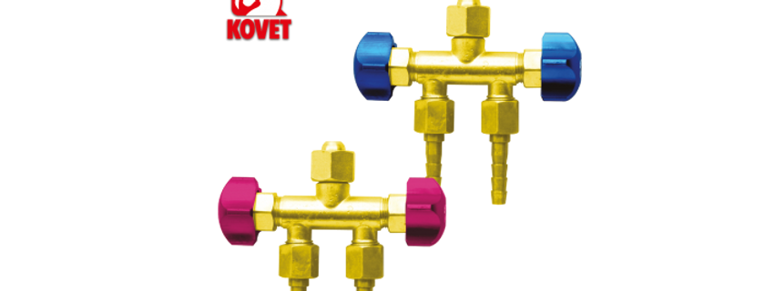 Brass T-3 Ways Hose Connector with 2 Valves