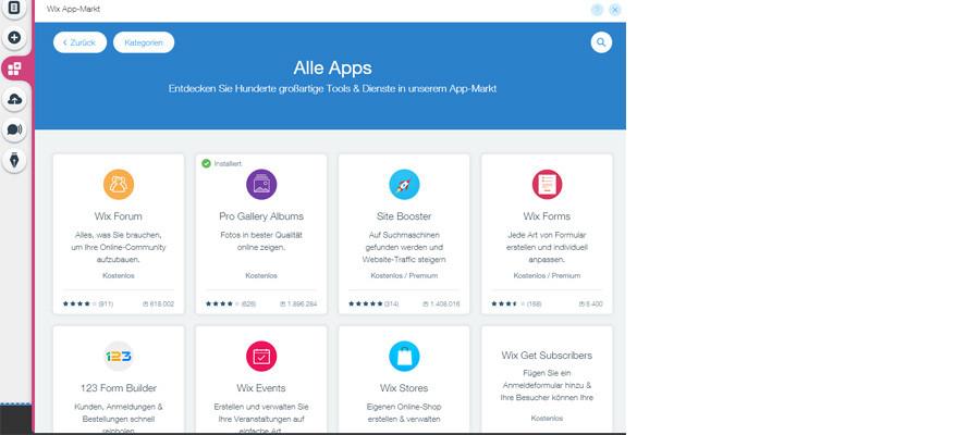App-Katalog von WIX
