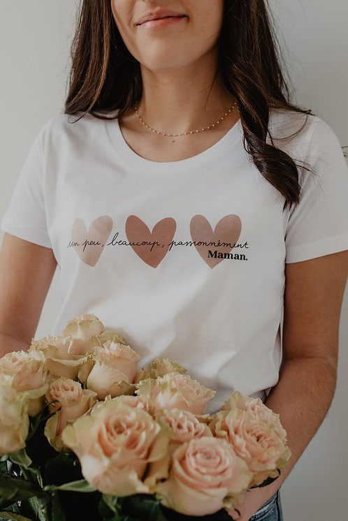 T-Shirt solidaire Femme Coeurs beiges