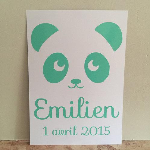 Affiche panda et date de naissance