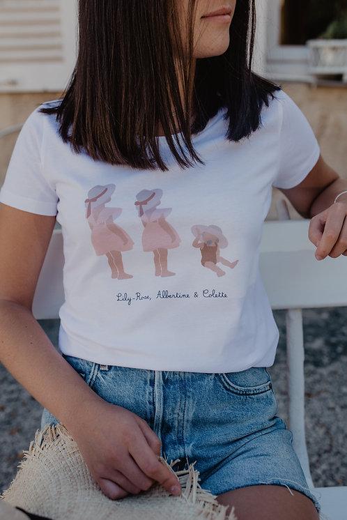 Tee-shirt femme blanc 2 enfants et plus collab retour de plage