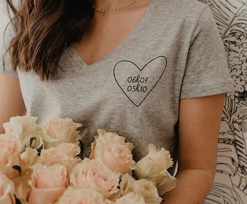 Tee-shirt Col V GRIS mon coeur femme
