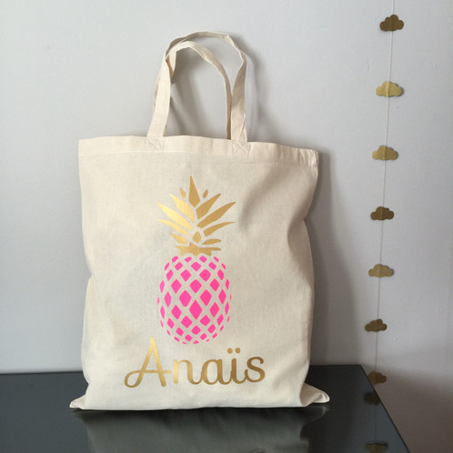 tote bag ananas personnalisable mon petit l on. Black Bedroom Furniture Sets. Home Design Ideas