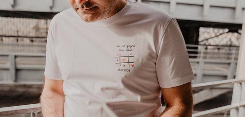 Tee-shirt tu as gagné mon coeur homme blanc