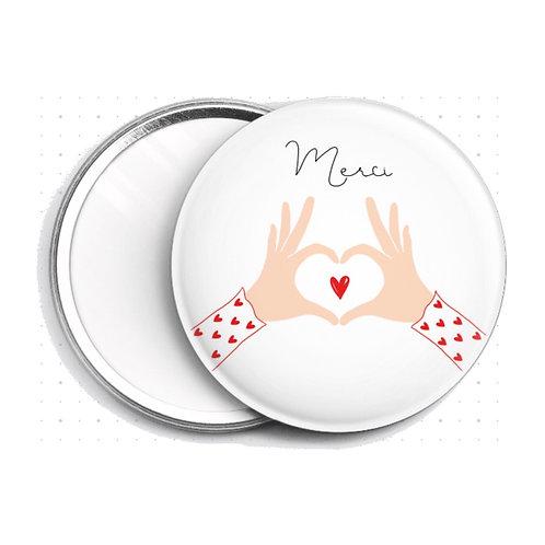 Miroir Merci Mains en coeur
