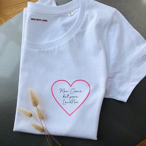 T-Shirt Mon Coeur bat pour personnalisable Femme