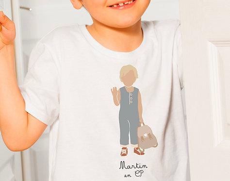 T-shirt Garçon bleu avec sac (personnalisable)
