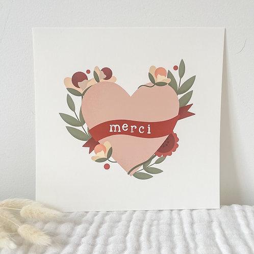 Carte postale Carré Coeur en Fleurs