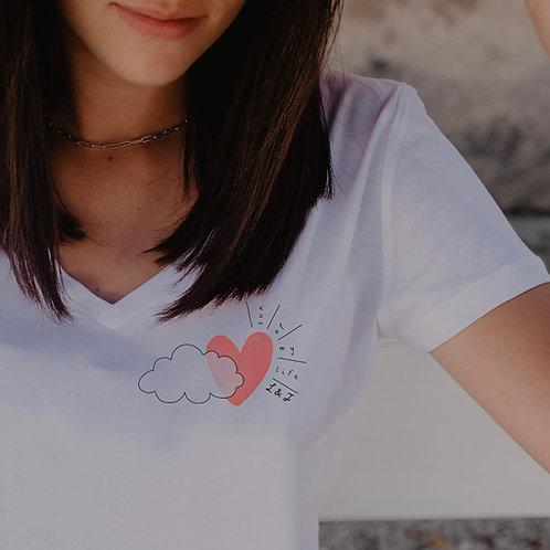 T-Shirt COL V femme blanc SUN OF MY LIFE