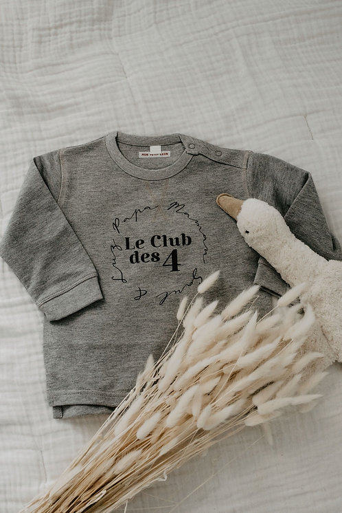 Sweat gris chiné LE CLUB Bébé