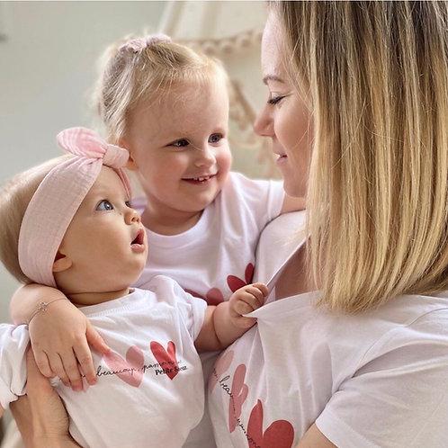 T-Shirt solidaire Enfant ou Bébé Coeurs Roses