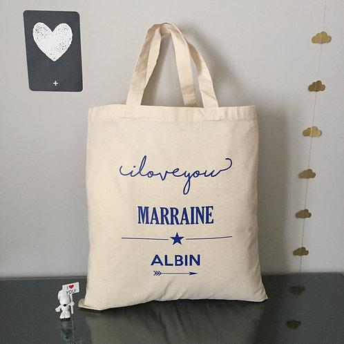Tote bag i love you marraine