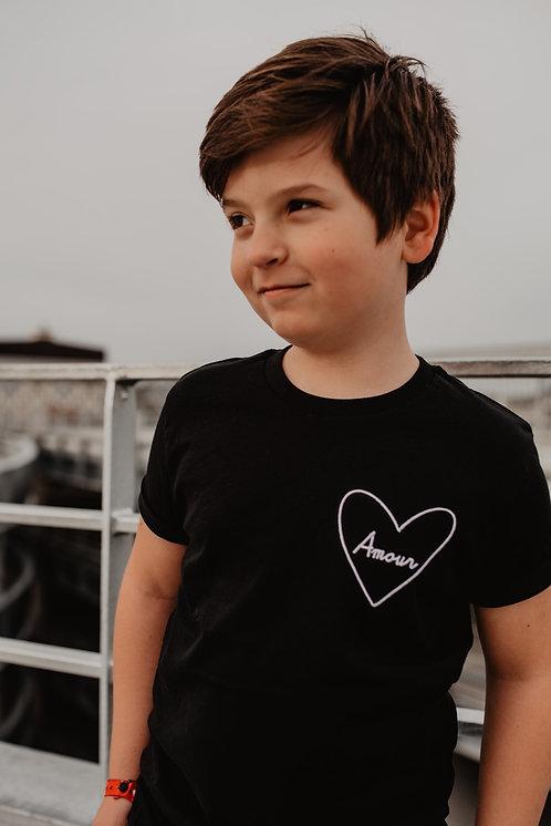 Tee-shirt Noir brodé Enfant Mon Coeur