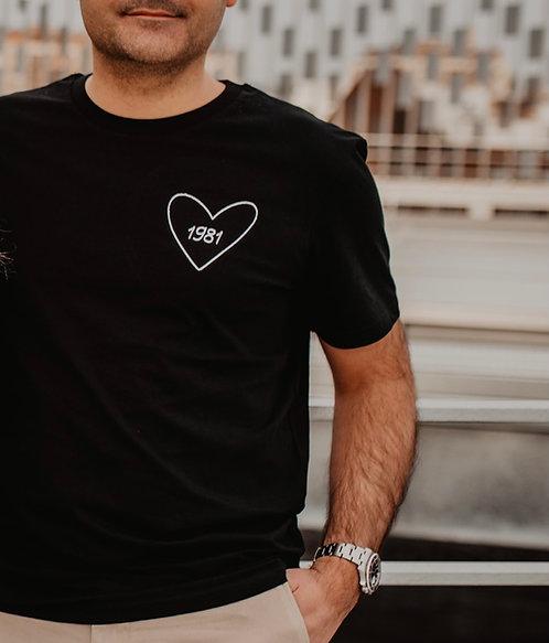 Tee-shirt Homme Noir brodé Mon Coeur