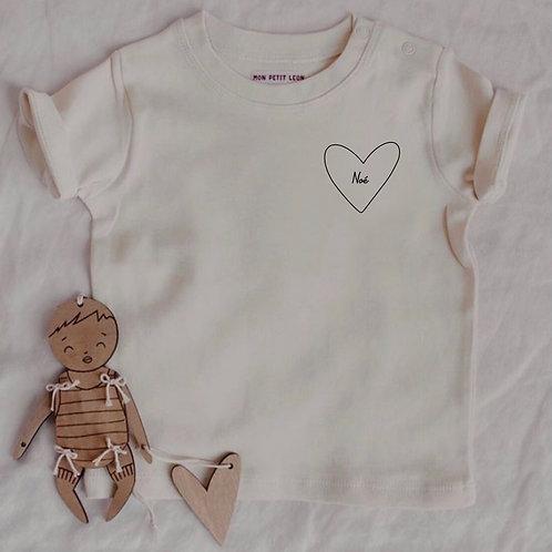 Tee-shirt mon coeur Bébé Beige