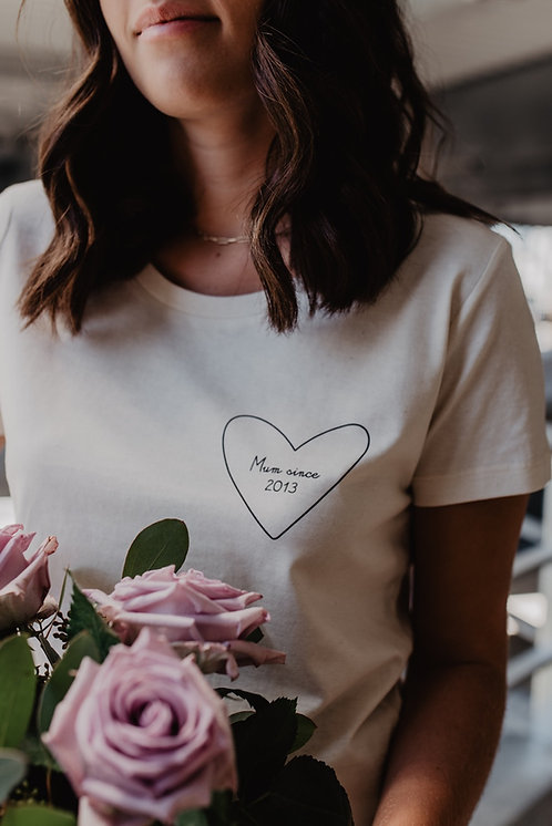 Tee-shirt mon coeur femme beige