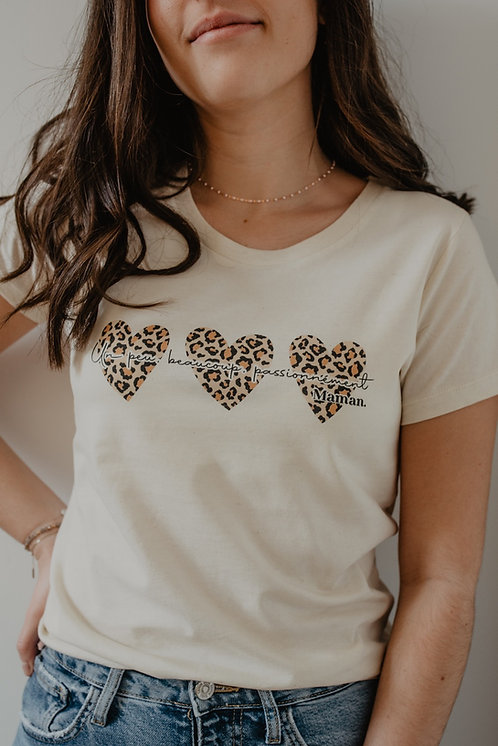 T-Shirt beige Léopard Femme