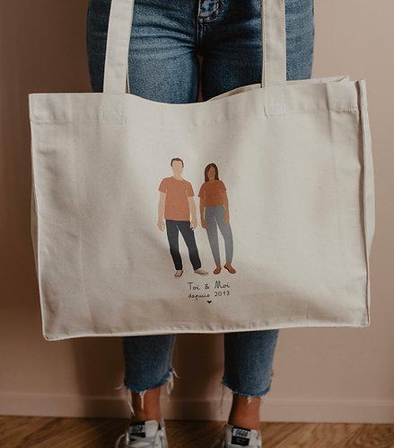 Big bag personnalisable Couple Intemporel collab retour de plage