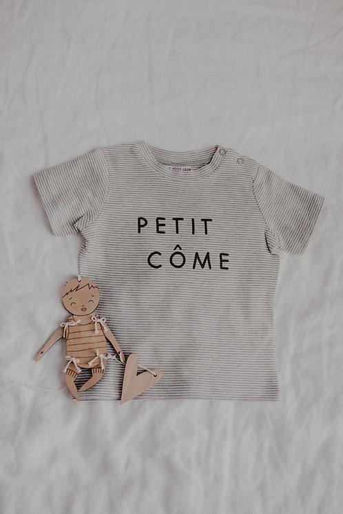 T-Shirt Bébé Rayé Gris/Blanc