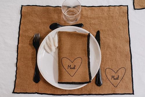 Set de table Mon Coeur coloris noisette