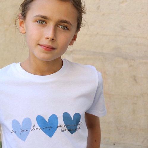 T-Shirt solidaire Enfant ou Bébé Coeurs Bleus