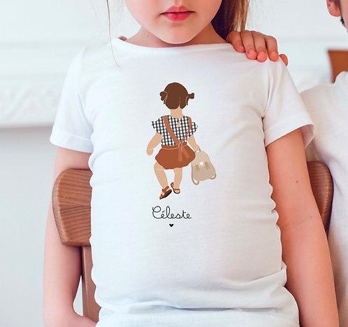 T-shirt Fille Vichy avec sac (personnalisable)