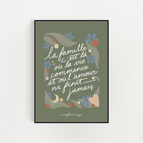 Affiche Verte la famille c'est là où la vie commence