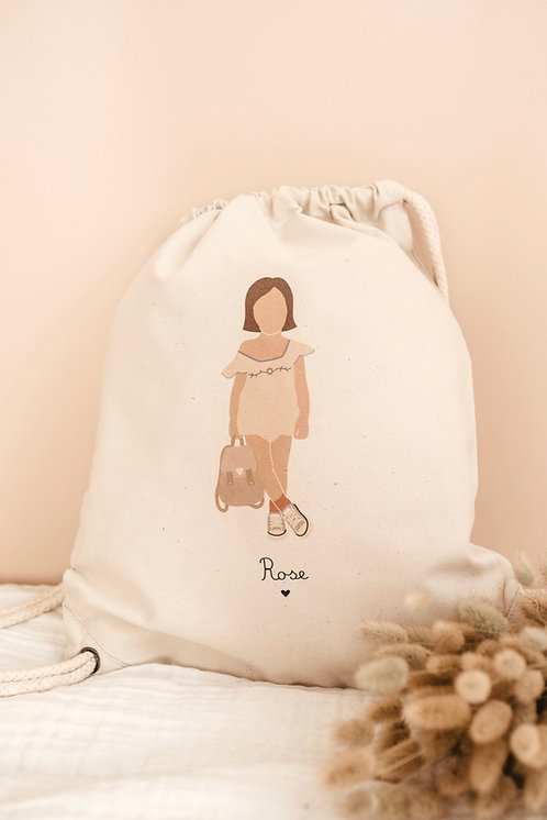 Sac à dos Fille combinaison avec sac (personnalisable)