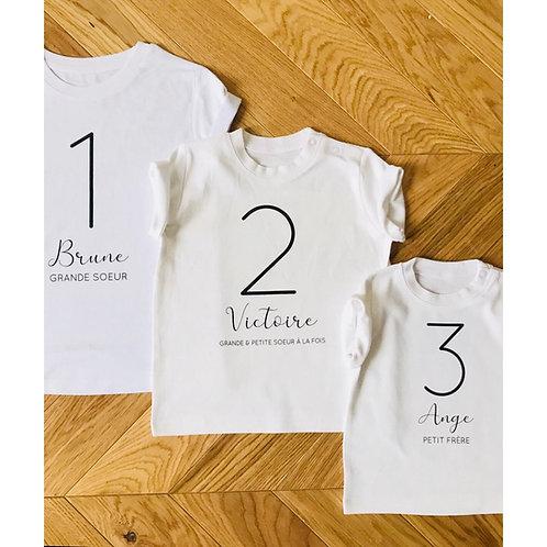 T-shirt NUMERO Enfant ou Bébé (personnalisable)