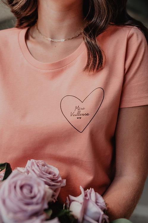Tee-shirt mon coeur femme rose blush