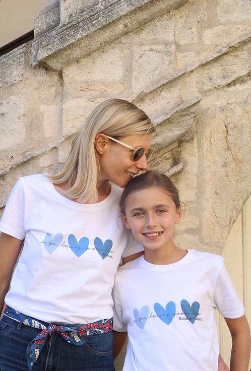 T-Shirt solidaire Femme Coeurs Bleus