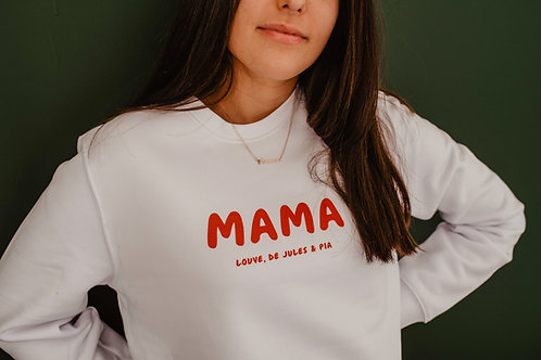 Sweat blanc Mama Forever col rond Femme
